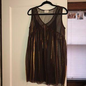 Slip Dress with Mesh Overlay